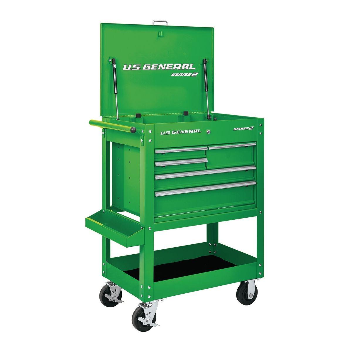 U.S. GENERAL 30 In. 5 Drawer Mechanic's Cart - Green - Item 64721 / 56237