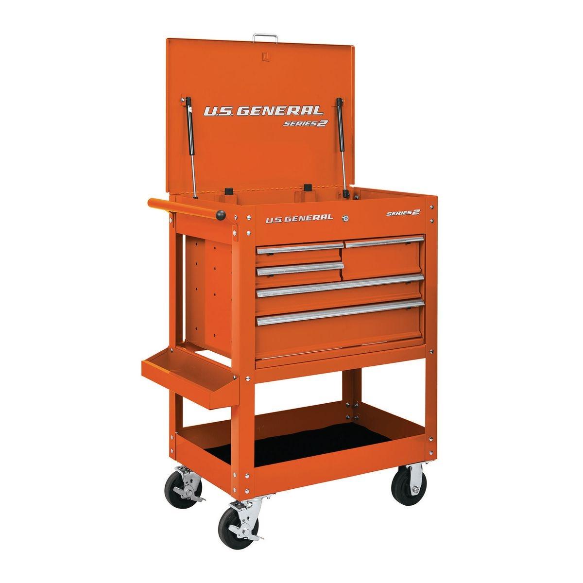 U.S. GENERAL 30 In. 5 Drawer Mechanic's Cart - Orange - Item 64722 / 56238