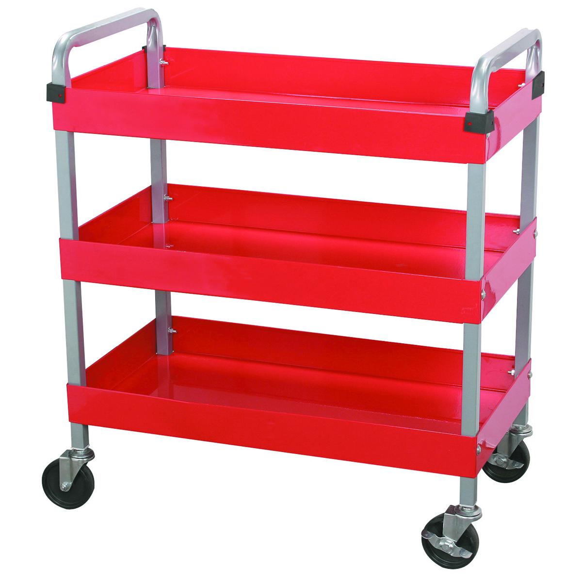 U.S. GENERAL 30 In. x 16 In. Three Shelf Steel Service Cart - Item 97542