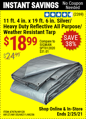 11 ft. 4 in. x 19 ft. 6 in. Silver/Heavy Duty Reflective All Purpose/Weather Resistant Tarp