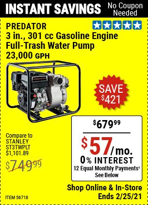 3 in.  301cc Gasoline Engine Full-Trash Water Pump - 23,000 GPH