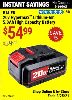 20v HyperMax™ Lithium-Ion 5.0 Ah High Capacity Battery