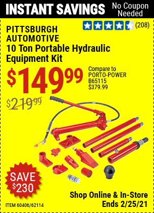 10 Ton Portable Hydraulic Equipment Kit
