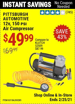 12V 150 PSI Compact Air Compressor