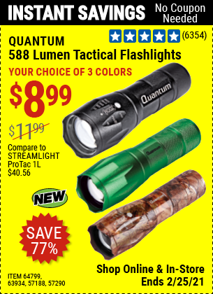 588 Lumen Tactical Flashlight, Green