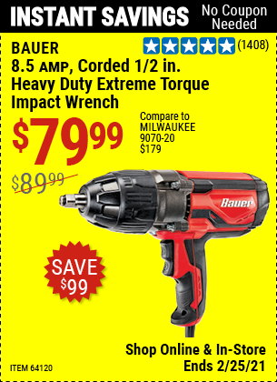 8.5 Amp Corded 1/2 in. Heavy Duty Extreme Torque Impact Wrench