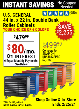 44 in. x 22 In. Double Bank Roller Cabinet, Red