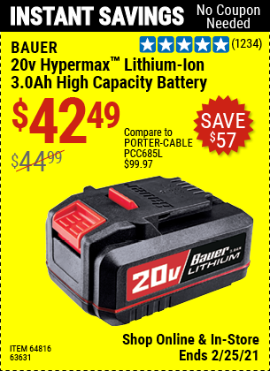 20V HyperMax™ Lithium-Ion 3.0 Ah High Capacity Battery