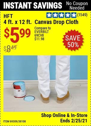 4 x 12  Canvas Drop Cloth