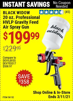 BLACK WIDOW 20 Oz. Professional HVLP Gravity Feed Air Spray Gun for $199.99