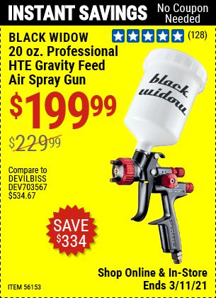 BLACK WIDOW 20 Oz. Professional HTE Compliant Gravity Feed Air Spray Gun for $199.99