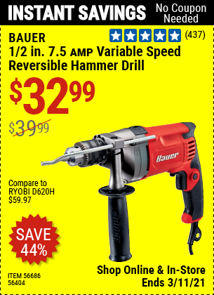 BAUER 1/2 In. 7.5 A Heavy Duty Variable Speed Reversible Hammer Drill for $32.99