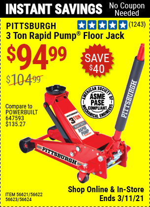 PITTSBURGH AUTOMOTIVE 3 Ton Steel Heavy Duty Floor Jack With Rapid Pump for $94.99