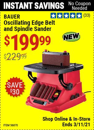 BAUER Oscillating Edge Belt And Spindle Sander for $199.99