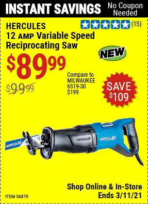HERCULES 12 Amp Variable Speed Reciprocating Saw for $89.99