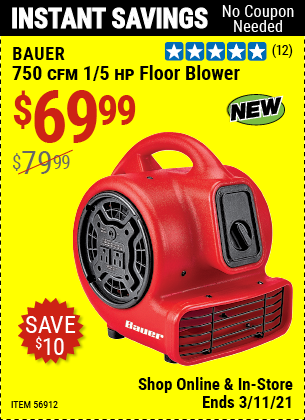 BAUER 750 CFM 1/5 HP Floor Blower for $69.99