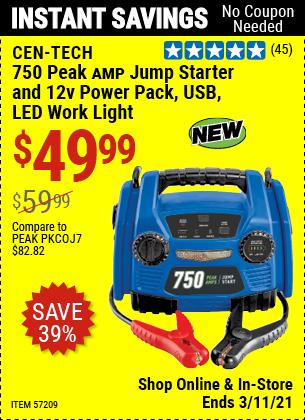 CEN-TECH 750 Peak Amp Jump Starter And 12v Power Pack, USB, LED Work Light for $49.99