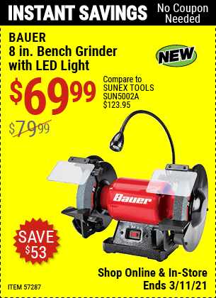 BAUER 8 In. Bench Grinder With LED Light for $69.99