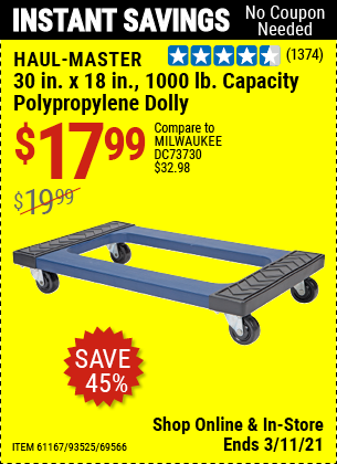 HAUL-MASTER 30 in. x 18 in. 1000 Lbs. Capacity Polypropylene Dolly for $17.99