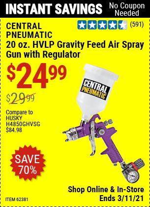 CENTRAL PNEUMATIC 20 oz. HVLP Gravity Feed Air Spray Gun with Regulator for $24.99