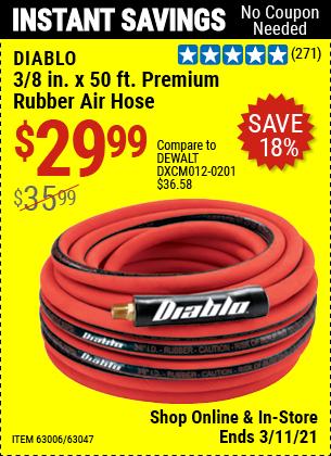 DIABLO 3/8 in. x 50 ft. Premium Rubber Air Hose for $29.99