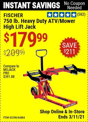 FISCHER 750 lb. Heavy Duty ATV/Mower High Lift Jack for $179.99