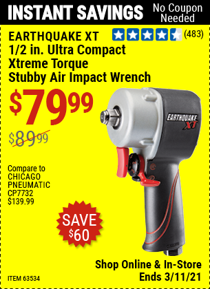 EARTHQUAKE XT 1/2 in. Ultra Compact Xtreme Torque Stubby Air Impact Wrench for $79.99