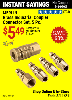 MERLIN Brass Industrial Coupler Connector Kit 5 Pc. for $5.49