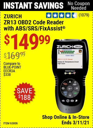 ZURICH ZR13 OBD2 Code Reader With ABS/SRS/FixAssist for $149.99