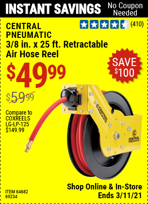 CENTRAL PNEUMATIC 3/8 in. x 25 ft. Premium Retractable Air Hose Reel for $49.99
