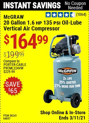 MCGRAW 20 Gallon 1.6 HP 135 PSI Oil Lube Vertical Air Compressor for $164.99