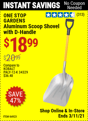 ONE STOP GARDENS Aluminum Scoop Shovel with D-Handle for $18.99