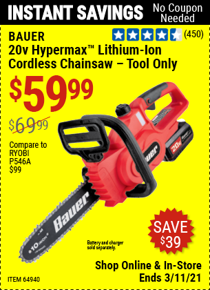 BAUER 20V Cordless Chainsaw (Tool Only) for $59.99