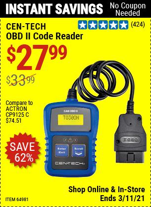 CEN-TECH OBD II Code Reader for $27.99