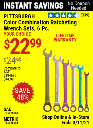 PITTSBURGH Metric Color Combination Ratcheting Wrench Set 6 Pc. for $22.99