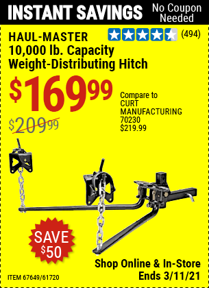 HAUL-MASTER 10000 Lbs. Capacity Weight-Distributing Hitch for $169.99
