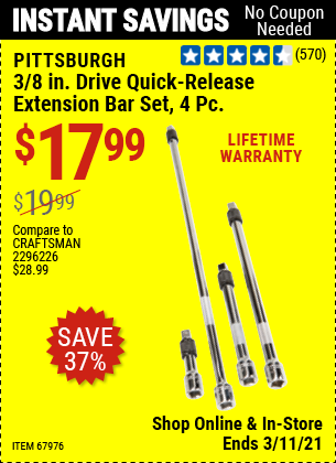 PITTSBURGH 3/8 in. Drive Quick-Release Extension Bar Set 4 Pc. for $17.99