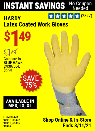 HARDY Latex Coated Work Gloves for $1.49