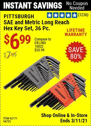 PITTSBURGH SAE & Metric Long Reach Hex Key Set 36 Pc. for $6.99