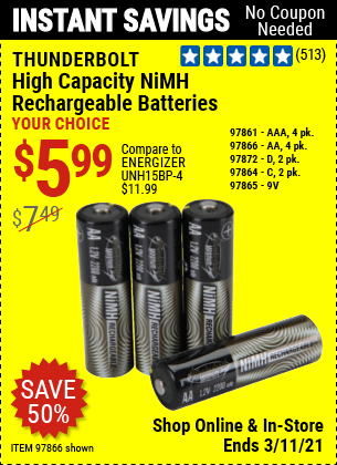 THUNDERBOLT AA High Capacity NiMH Rechargeable Batteries 4 Pk. for $5.99