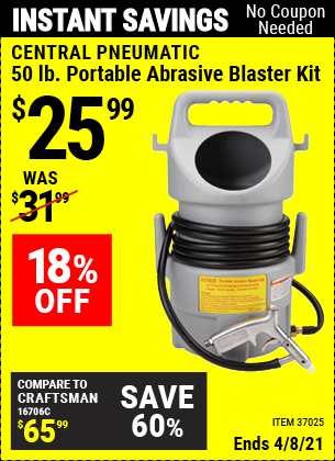 Buy the CENTRAL PNEUMATIC Portable Abrasive Blaster Kit (Item 37025) for $25.99, valid through 4/8/2021.
