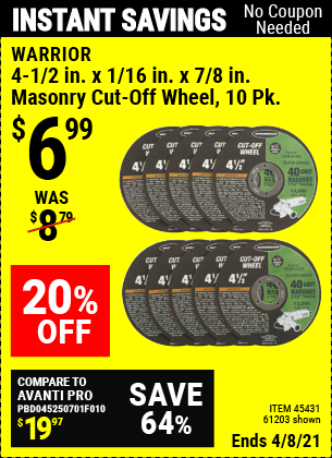 Buy the WARRIOR 4-1/2 in. 40 Grit Masonry Cut-Off Wheel 10 Pk. (Item 45431/61203) for $6.99, valid through 4/8/2021.