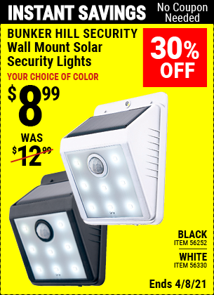 Buy the BUNKER HILL SECURITY Wall Mount Security Light (Item 56252/56330) for $8.99, valid through 4/8/2021.