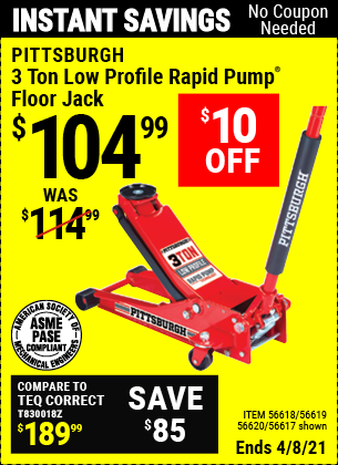 Buy the PITTSBURGH AUTOMOTIVE 3 Ton Low Profile Steel Heavy Duty Floor Jack With Rapid Pump (Item 56617/56618/56619/56620) for $104.99, valid through 4/8/2021.
