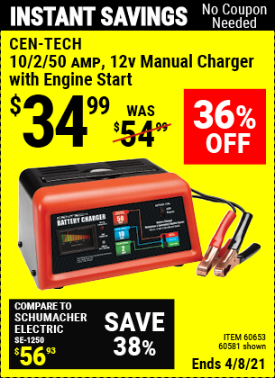 Buy the CEN-TECH 12V Manual Charger With Engine Start (Item 60581/60653) for $34.99, valid through 4/8/2021.
