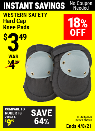 Buy the WESTERN SAFETY Hard Cap Knee Pads (Item 62821/62820) for $3.49, valid through 4/8/2021.