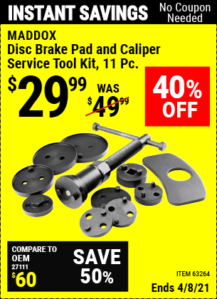 Buy the MADDOX Disc Brake Pad and Caliper Service Tool Kit 11 Pc. (Item 63264) for $29.99, valid through 4/8/2021.