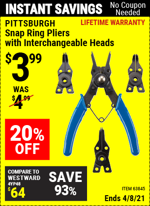 Buy the PITTSBURGH Snap Ring Pliers with Interchangeable Heads (Item 63845) for $3.99, valid through 4/8/2021.