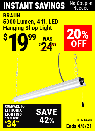 Buy the BRAUN 4 Ft. LED Hanging Shop Light (Item 64410) for $19.99, valid through 4/8/2021.