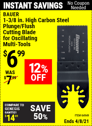 Buy the BAUER 1-3/8 in. High Carbon Steel Plunge/Flush Cutting Blade for Oscillating Multi-Tools (Item 64949) for $6.99, valid through 4/8/2021.